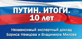 «Путин. Итоги. 10 лет» - доклад Бориса Немцова и Владимира Милова