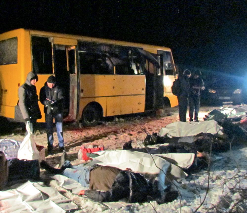 Автобус, убитый сепаратистами по-под Волновахой